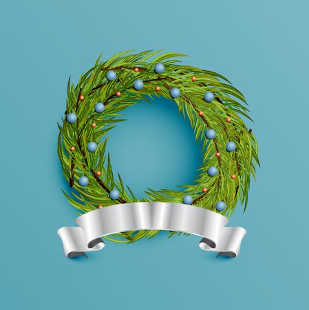 Realistic wreath with gold ribbon for Christmas, vector illustration Ilustração