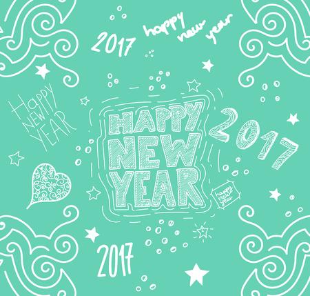 Happy new year hand drawn illustration, vector Illustration