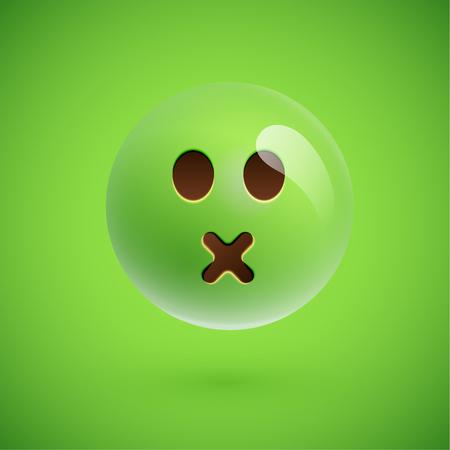 Green realistic emoticon smiley face, vector illustration