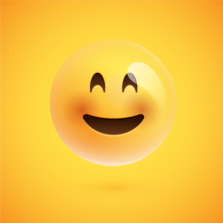 Realistic yellow emoticon in front of a yellow background, vector illustration Ilustracja