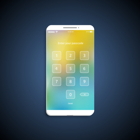 Simple and colorful UI surface for smartphones - Login screen, vector illustration