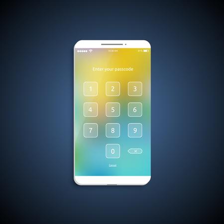 Superficie de interfaz de usuario simple y colorida para teléfonos inteligentes: pantalla de inicio de sesión, ilustración vectorial
