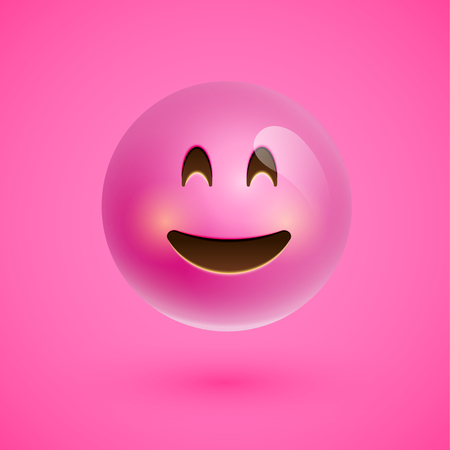 Pink realistic emoticon smiley face, vector illustration Stockfoto - 124823563