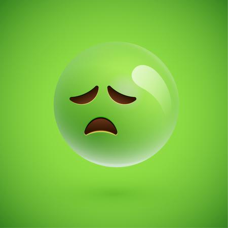 Green realistic emoticon smiley face, vector illustration Stockfoto - 124823574