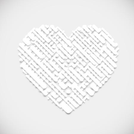 White shape of a heart, vector illustration 일러스트