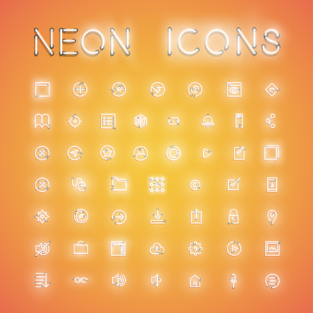 Glowing realistic neon icon set for web, vector illustration Banque d'images - 124774567