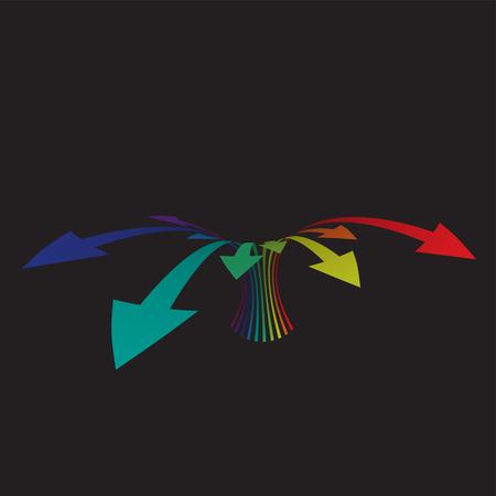 Colorful arrows on black background, vector illustration Illustration