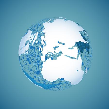 World globe on a blue background, vector illustration Banque d'images - 124774587