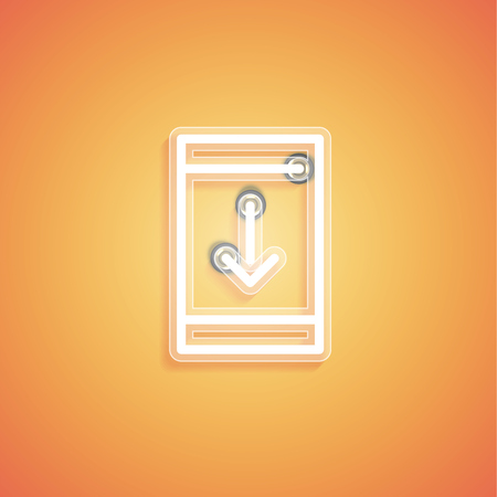 Glowing realistic neon icon for web, vector illustration Banque d'images - 124774596