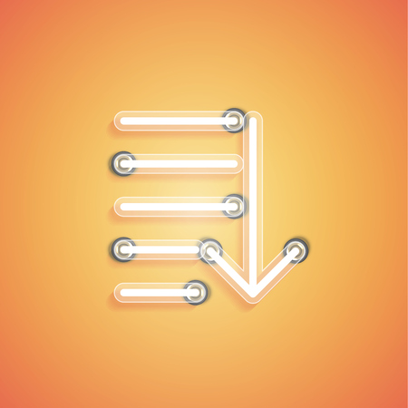 Glowing realistic neon icon for web, vector illustration Banque d'images - 124774644