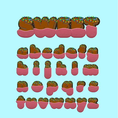 Sweet font character set with, vector illustration