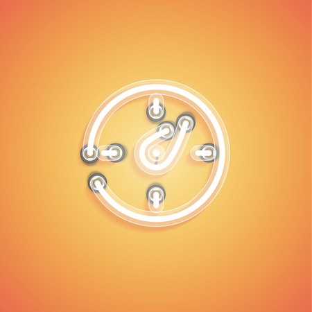 Glowing realistic neon icon for web, vector illustration Banque d'images - 124774676