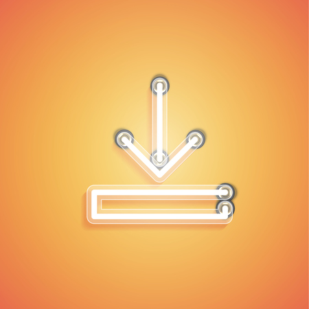 Glowing realistic neon icon for web, vector illustration