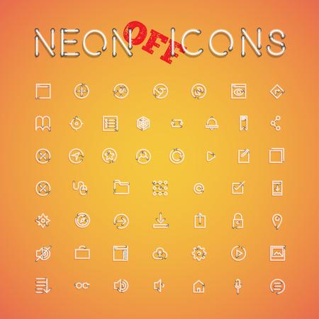 Glühendes realistisches Neonikonensatz für Netz, Vektorillustration