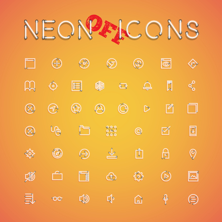 Glowing realistic neon icon set for web, vector illustration Banque d'images - 124774706
