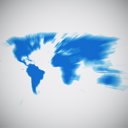 World map focusing on South America, vector illustration