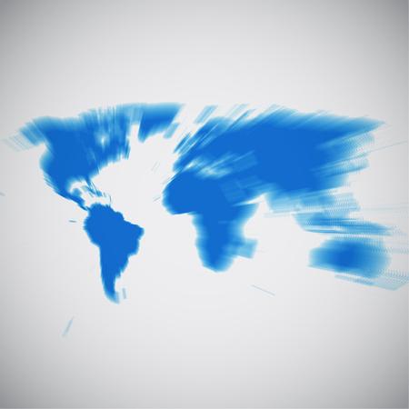 World map focusing on South America, vector illustration