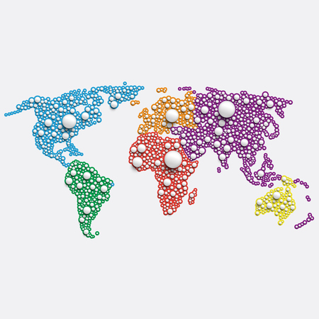White world map made by balls, vector illustration Illustration
