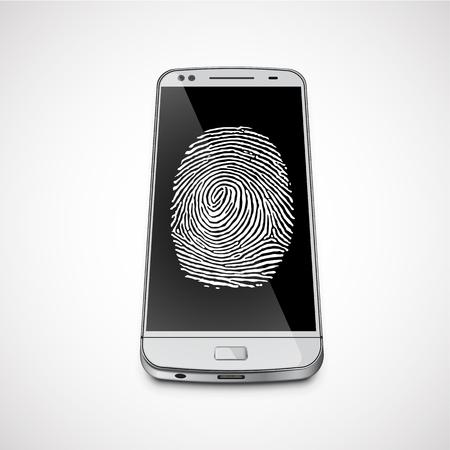 Fingerprint on a realistic smartphone's screen, vector illustration