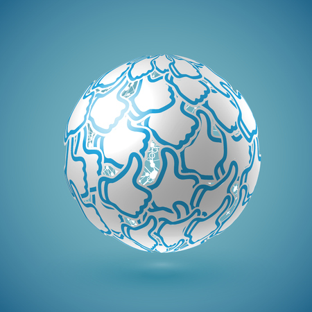 Blue realistic shaded thumbs up globe with connections, vector illustration