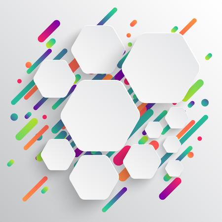 Modello dinamico e colorato per la pubblicità, illustrazione vettoriale Vettoriali
