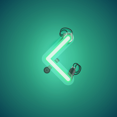Green realistic neon character with wires and console from a fontset, vector illustration