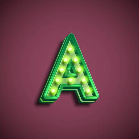 Broadway character with lamps from a fontset, vector illustration