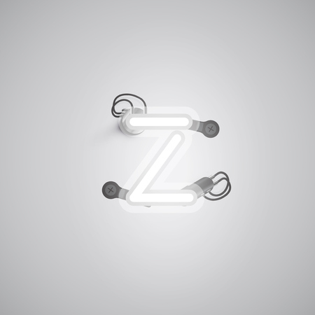 Realistic neon character with wires and console from a fontset, vector illustration