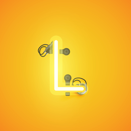 Yellow realistic neon character with wires and console from a fontset, vector illustration