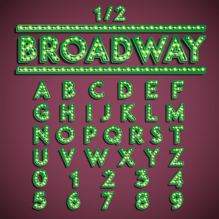 'Broadway' fontset with lamps, vector illustration 写真素材 - 124735687