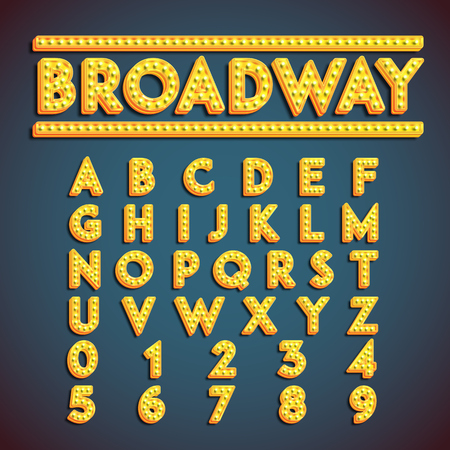 Broadway fontset with lamps, vector illustration