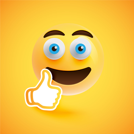 Emoticon with thumbs up, vector illustration Çizim