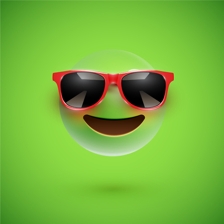 High-detailed 3D smiley with sunglasses on a colorful background, vector illustration Vector Illustration
