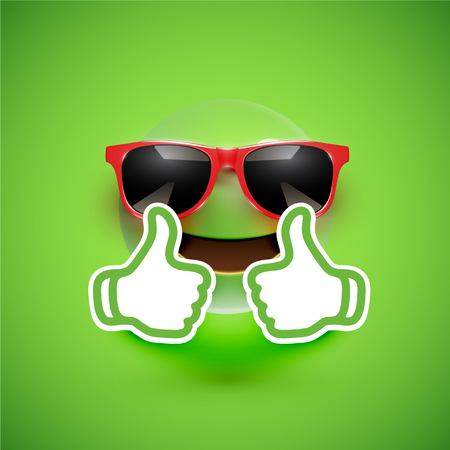 Realistic emoticon with sunglasses and thumbs up, vector illustration Vecteurs