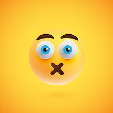 Realistic yellow emoticon in front of a yellow background, vector illustration  イラスト・ベクター素材