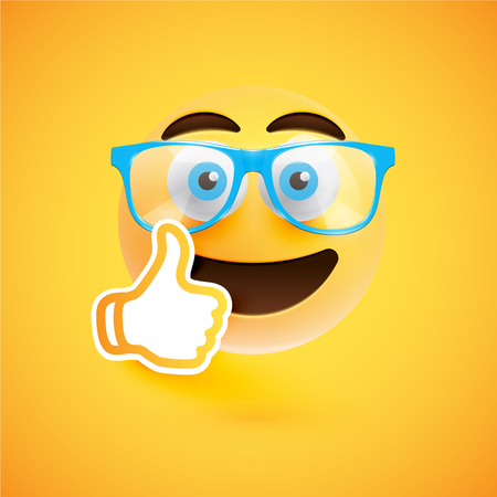 Emoticon with thumbs up, vector illustration 向量圖像
