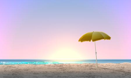 Realistische Landschaft eines Strandes mit Sonnenuntergang / Sonnenaufgang und einem gelben Sonnenschirm, Vektorillustration Vektorgrafik