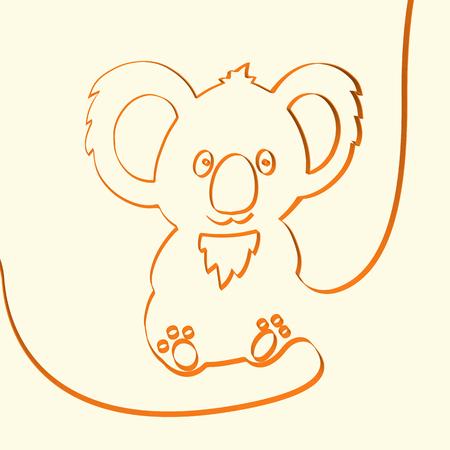 3D line art koala animal illustration, vector illustration