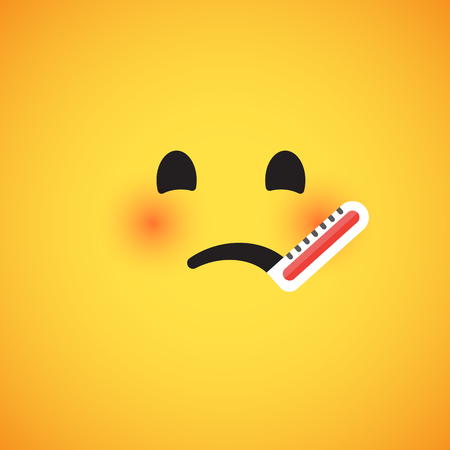 Cute yellow emoticon for web, vector illustration Ilustrace