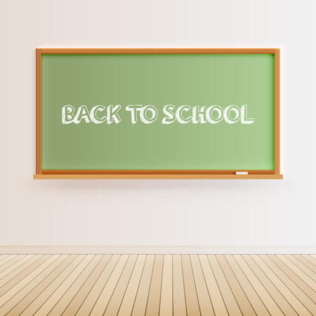 Green blackboard with 'back to school' sign vector illustration