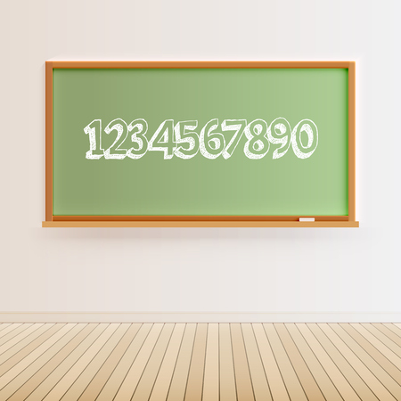 Green blackboard with a number set, vector illustration