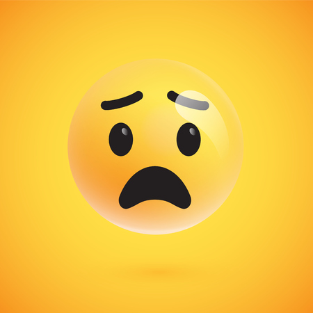 Cute yellow 3d emoticon for web, vector illustration