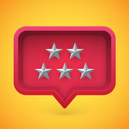 Grey rating stars in speech bubble, vector illustration Ilustración de vector