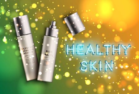 High detailed moisturiser bottles with neon 'healthy skin' sign, vector illustration