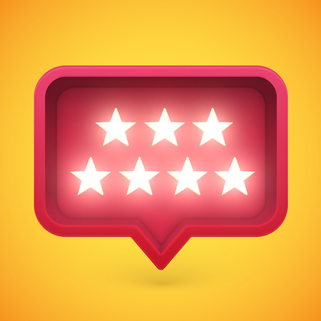 Glowing rating stars in speech bubble, vector illustration Illustration