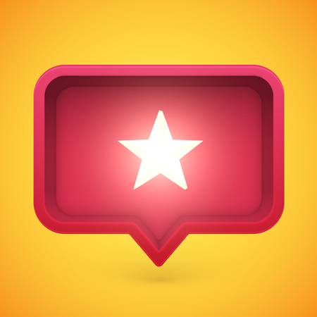 Glowing rating star in speech bubble, vector illustration