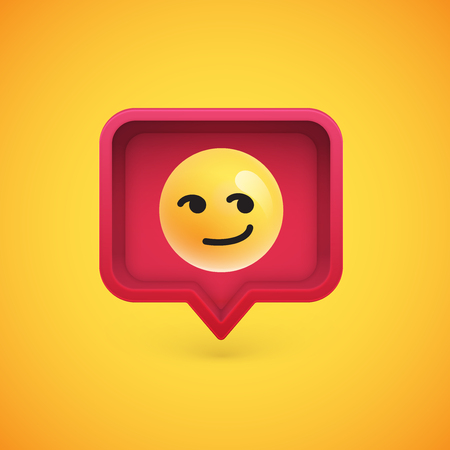 Funny 3D emoticon in 3D speech bubble, vector illustration