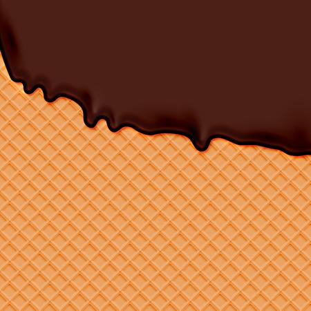 Realistic waffle with melting chocolate icecream, vector illustration