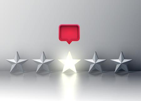 Calificación de cinco estrellas con estrella brillante y un bocadillo rojo arriba, ilustración vectorial