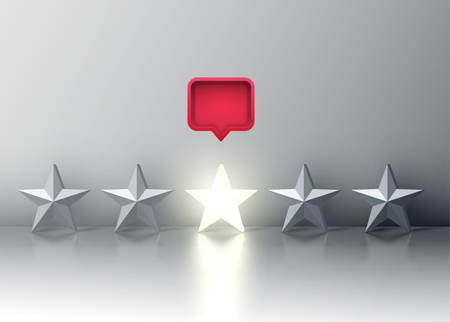 Five-star rating with glowing star and a red speech bubble above, vector illustartion